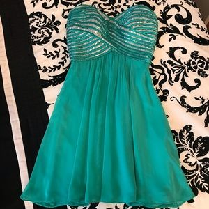 Turquoise Sequin Short Party Dress